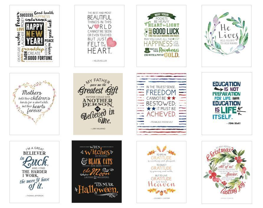 CF - print - Ayear of inspiring quotes:holiday edition(pack of 12) prints only<BR>心を鼓舞する言葉の引用/ホリデーエディション(12枚セット)プリントのみ