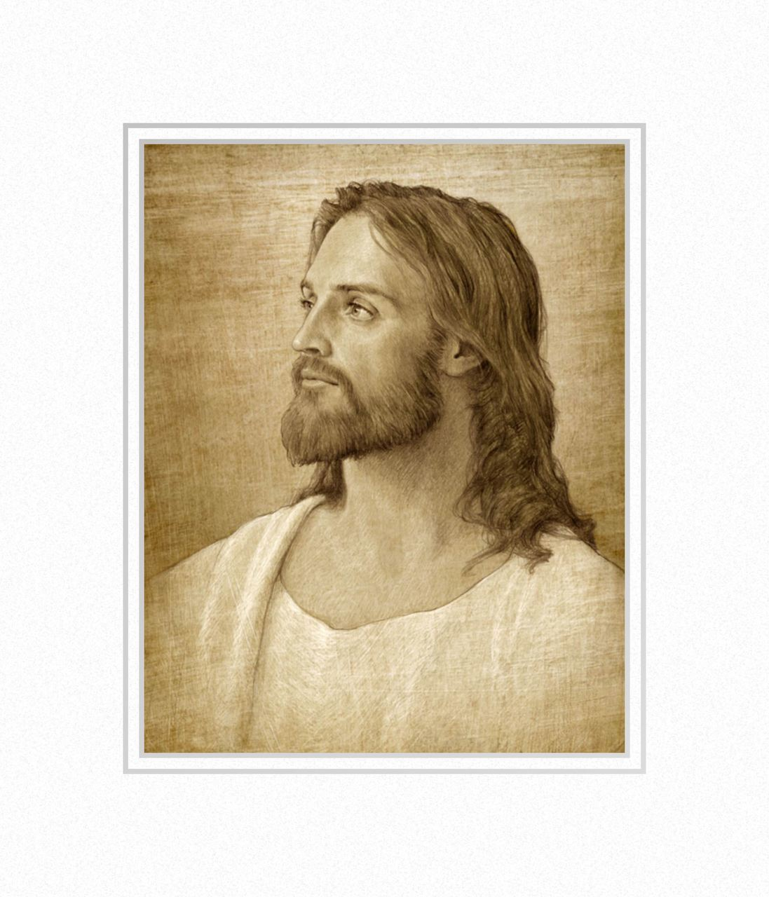 AF -11×14 Print - Christ Portrait / 11x14 matted/Joseph Brickey<BR>キリストの肖像画 11×14 マットプリント
