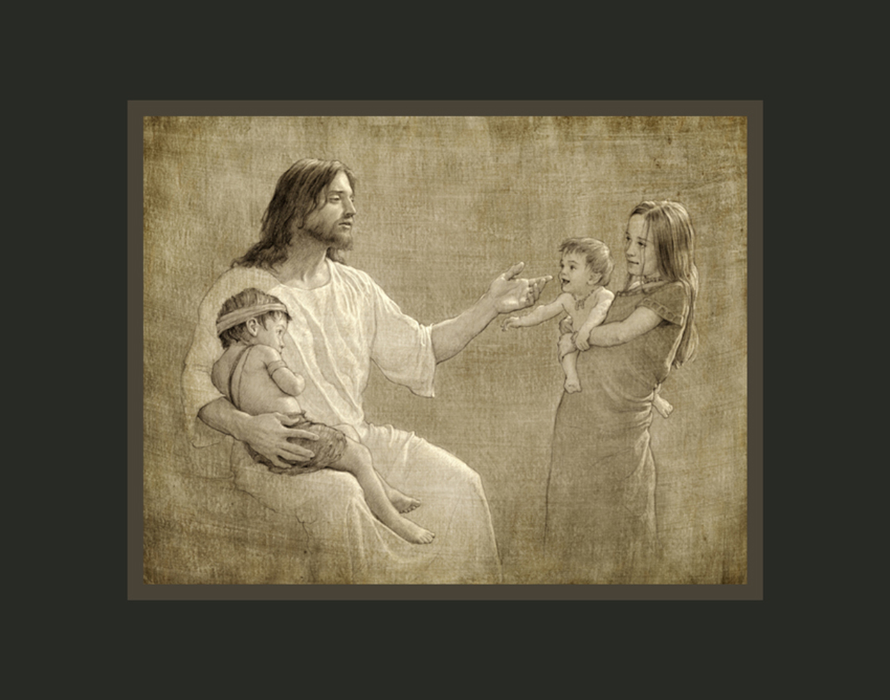 AF -11×14 Print - Christ with Children / 11x14 matted/Joseph Brickey<BR>キリストと子供たち 11×14 マットプリント