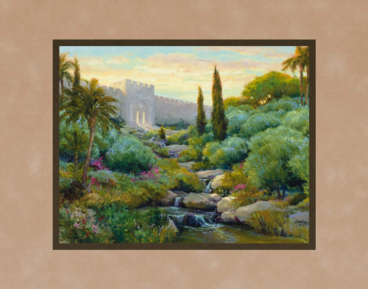 AF -11×14 Print - Beautiful Gate / 11x14 matted/Linda Curley Christensen<BR>美しき門 11×14 マットプリント