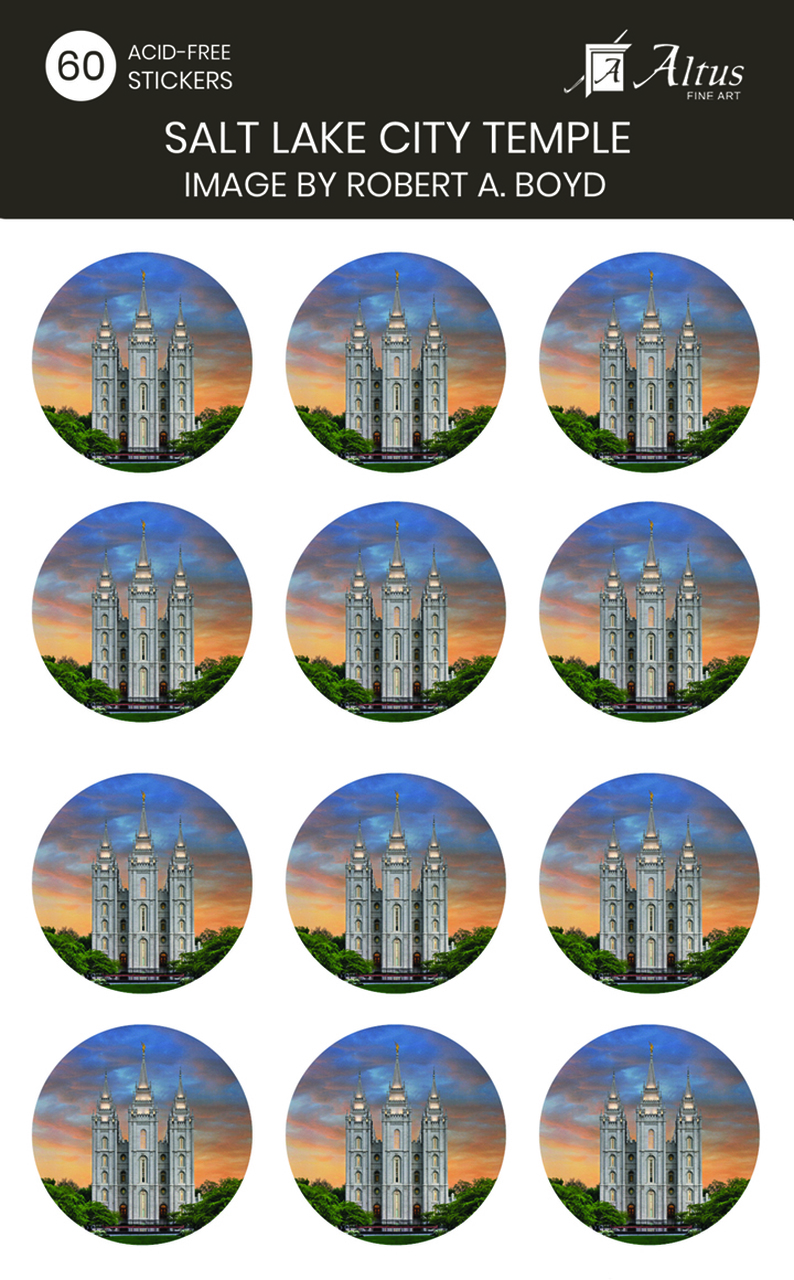 AF - Sticker - Salt Lake Temple - Amazing Grace circle sticker pack of 60<BR>ステッカー 「ソルトレーク神殿 - すばらしき主の恵み」(60枚入) by ロバート・ボイド