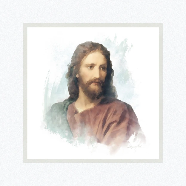 AF - 9x9 - Print - Portrait of Christ after Heinrich Hoffman by Jay Bryant Ward - 9x9 - Print - 9x9 print matted to 12x12<BR>イエスキリストの肖像画 30.48 cm x 30.48 cm