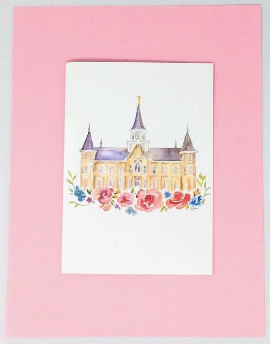 CF - Watercolor - Provo City Center Temple - Print - Watercolor - 5x7 <BR>プロボ・シティ・センター神殿水彩画 【日本在庫商品】