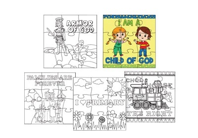 CF - Puzzle - Color Your Own Puzzle - 5pk<BR>自分で色を塗るジグソーパズル