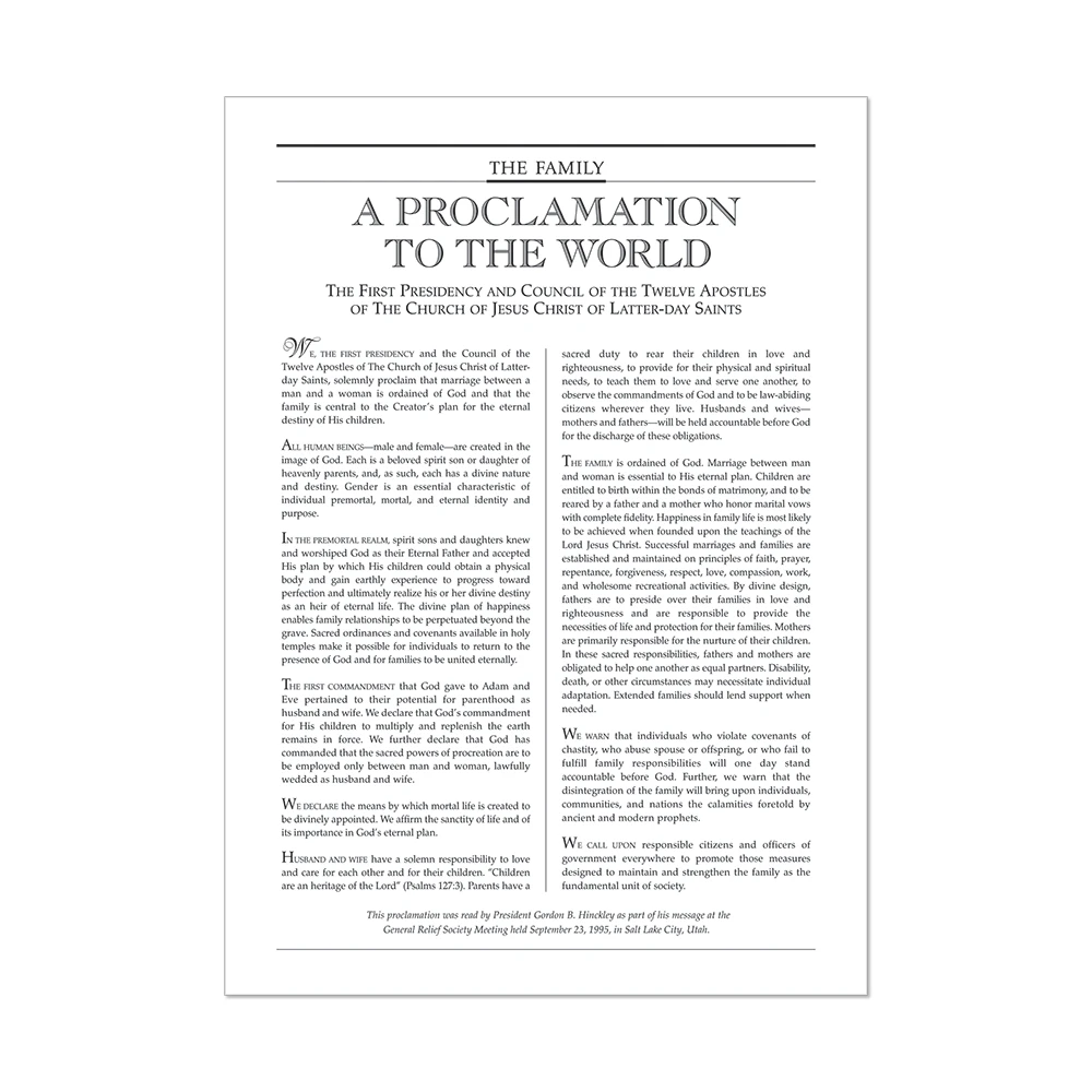 """RM -  5 x 7"""" Poster - The Family Proclamation TO THE WORLD<BR>【ポスター】「家族世界への宣言(英文)」(12.7cm×17.78cm)"""