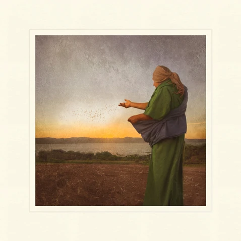 AF - 9x9 - Print - The Sower by Eva Koleva Timothy - 9x9 - Print - 9x9 print matted to 12x12<BR>種をまく人 30.48 cm x 30.48 cm
