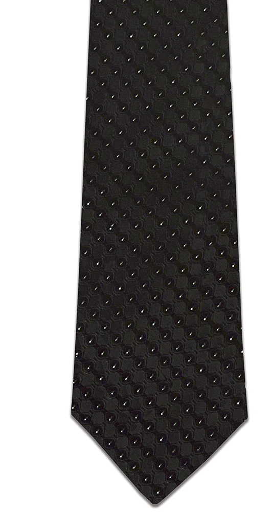 RM - Tie - Black & Silver Men's Tie <BR>ブラック&シルバー メンズ ネクタイ (成人)
