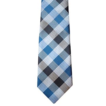 RM - Tie - Youth Blue & Black Plaid Tie<BR>ネクタイ (ユース) /ブルー&ブラック格子縞
