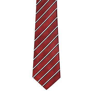 RM - Tie - Men's Maroon & Black Stripe Tie<BR>ネクタイ (成人) エンジ&ブラックストライプ