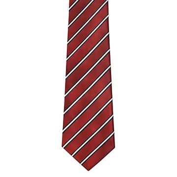 RM - Tie -  Toddler Maroon & Black Stripe Tie <BR>エンジ&ブラックストライプ ネクタイ (幼児)