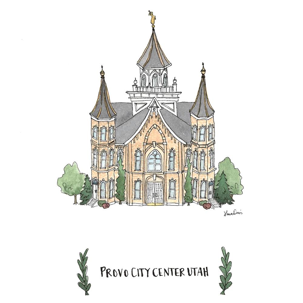 """RM -  5 x 7 Print - Provo City Center Illustration by: Laura Davies  5 x 7"""" <BR/>プロボシティセンター神殿(ラウラ・デービス画) プリントカード 5 x 7"""""""
