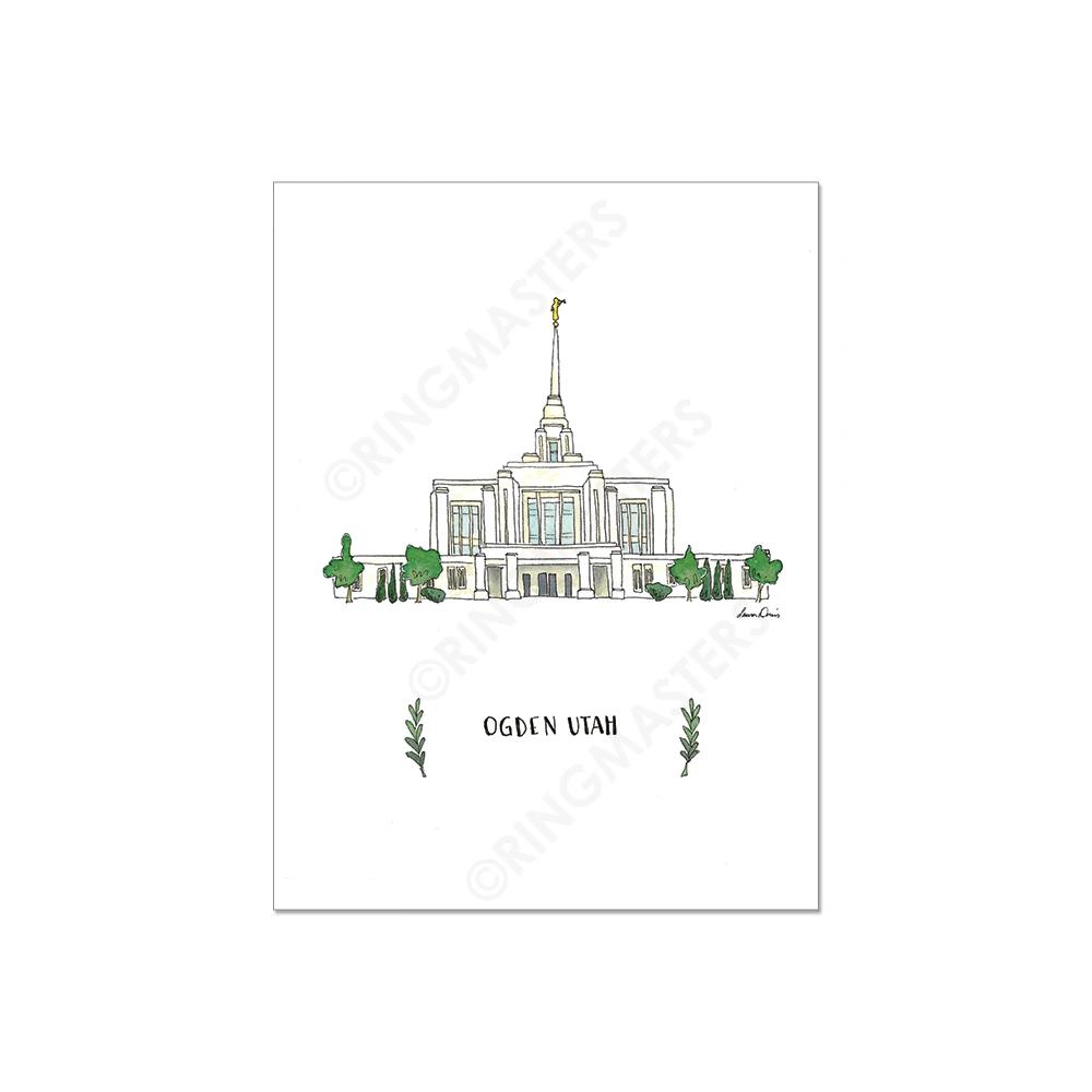 "RM - 5 x 7 Print - Ogden Utah Illustration by: Laura Davies 5 x 7"" <BR/>ユタ州オグデン神殿(ラウラ・デービス画) プリントカード 5 x 7"""