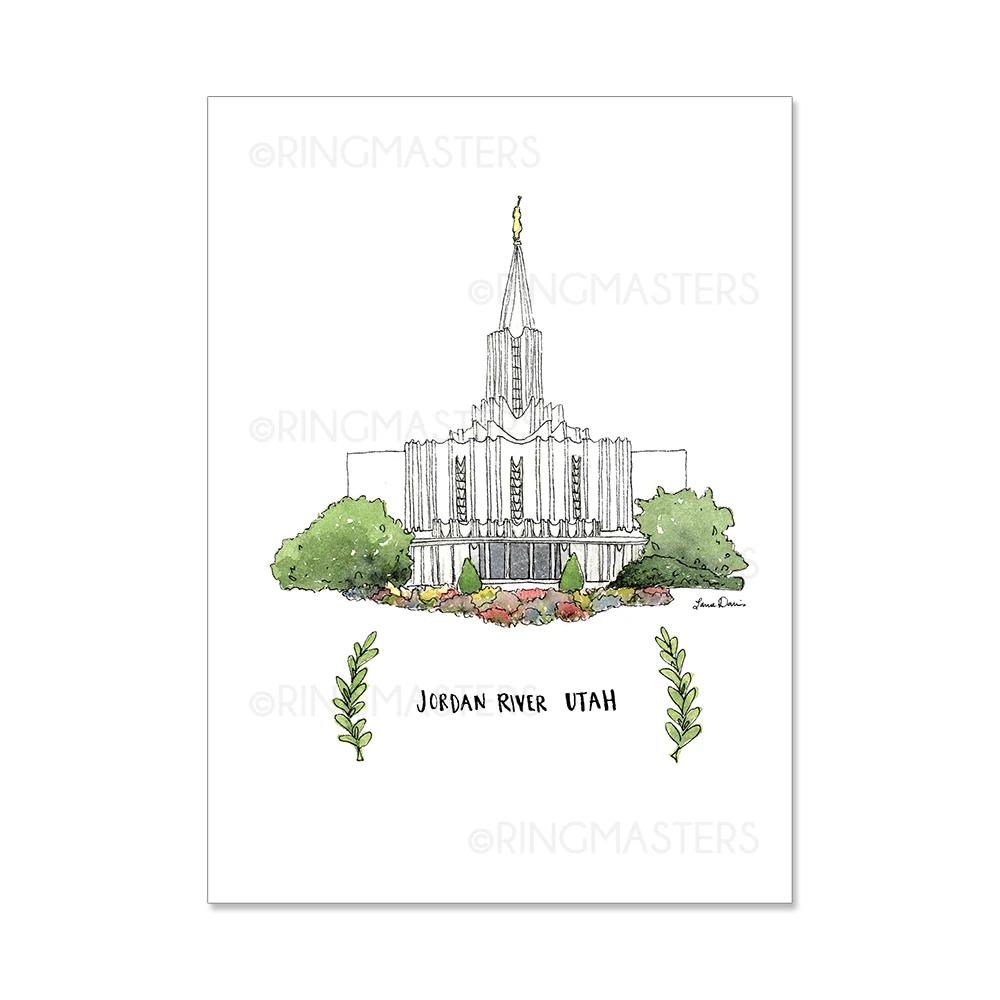 "RM - 5 x 7 Print - Jordan River Utah Illustration by: Laura Davies 5 x 7"" <BR/>ユタ州ジョーダンリバー神殿(ラウラ・デービス画)プリントカード5 x 7"""