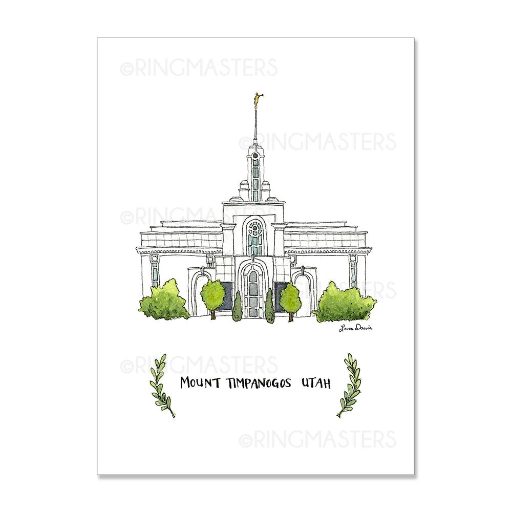 "RM - 3 x 4 Print - Mount Timpanogos Utah Illustration by: Laura Davies 3 x 4"" <BR/>ユタ州マウントティンパノーゴス神殿(ラウラ・デービス画) プリントカード3 x 4"""
