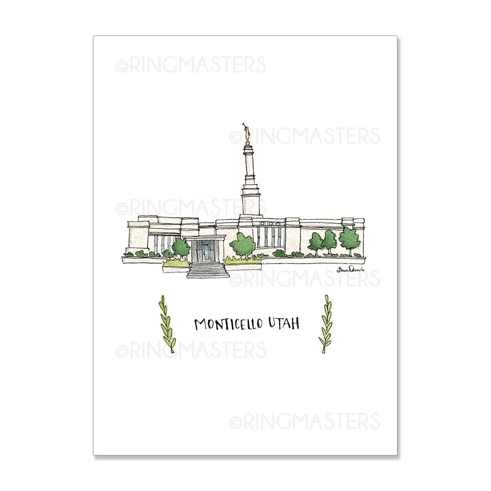 """RM - 3 x 4 Print - Monticello Utah Illustration by: Laura Davies 3 x 4"""" <BR/>ユタ州モンティセロ神殿(ラウラ・デービス画) プリントカード3 x 4"""""""