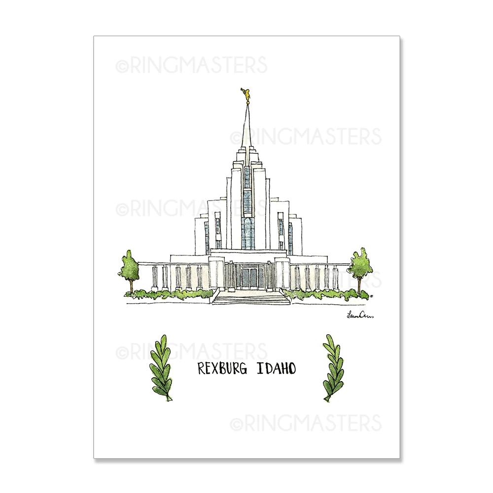 "RM -  5 x 7 Print - Rexburg Idaho Illustration by: Laura Davies  5 x 7"" <BR/>アイダホ州レックスバーグ神殿(ラウラ・デービス画) プリントカード 5 x 7"""
