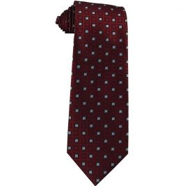 JB - Mens Tie - Burgundy Wine with Frost Blue Squares<BR>ネクタイ (成人サイズ) バーガンディワイン&フロストブルースクエア【日本在庫1点】