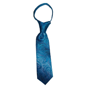 JB - Toddler Tie - Malibu Turquoise and Silver Paisley<BR>幼児ネクタイ(1〜4歳) - マリブターコイズ&シルバーペイズリー