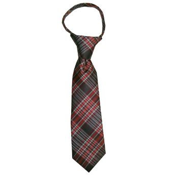 JB - Toddler Tie - Rust Brown, Tan, Burgundy and Coral Plaid<BR>幼児ネクタイ - 錆ブラウンX淡い茶色XエンジXコーラルチェック