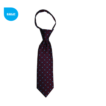 JB - Toddler Tie - Burgundy Wine with Frost Blue Squares<BR>幼児ネクタイ(1〜4歳) バーガンディワイン&フロストブルースクエア【日本在庫1点】