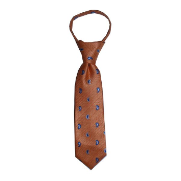 JB - Toddler Tie - Coral, Tangerine Cream with Blue Paisley<BR>幼児ネクタイ (1〜4歳) サンゴブルーペイズリーとタンジェリンクリーム