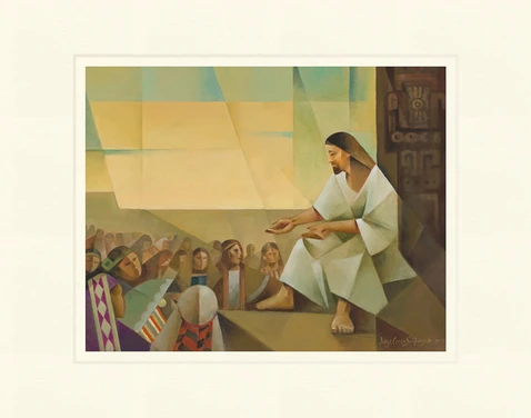AF - 8x10 - Print - Jesus Preaching to the Multitude by Jorge Cocco - 8x10 - Print - 8x10 print matted to 11x14<BR>群衆を教えるイエス 27.9 cm x 35.6 cm