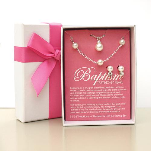 RM - Necklace & Bracelet & Earring - Baptism Testimony Pearl Clip-on Earring Set<BR/>バプテスマ証の真珠イヤリング(クリップタイプ)セット