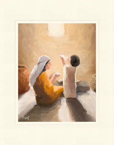 AF - 8x10 - Print - Holy Mother and Child by Mike Moyers - 8x10 - Print - 8x10 print matted to 11x14<BR>聖なる母と子 27.9 cm x 35.6 cm