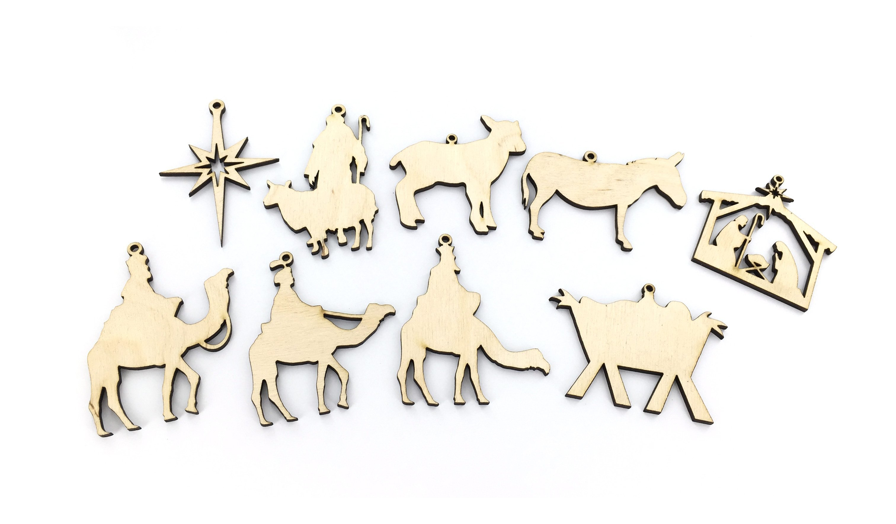 CF - Ornament - The nativity:wooden ornament box set(with lamb)<BR>木製降誕オーナメント(子羊)