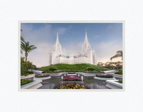 AF - 7x10.5 - Print - San Diego Temple - Garden View by Robert A Boyd - 7x10.5 - Print - 7x10.5 print matted to 11x14<BR>サンディエゴ神殿の庭 27.9 cm x 35.6 cm