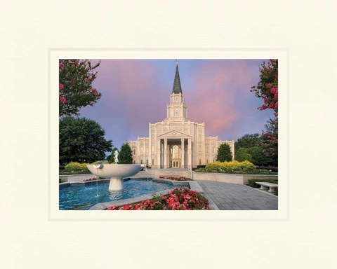 AF - 5x7 - Print - Houston Temple - House of Peace 5x7 print - 5x7 print matted to 8x10<BR>平安の家「ヒューストン神殿」 20.3cm x 25.4 cm