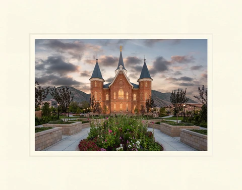 AF - 7x10.5 - Print - Provo City Center Temple - Sunrise by Robert A Boyd - 7x10.5 - Print - 7x10.5 print matted to 11x14<BR>プロボシティセンター神殿「日の出」 27.9 cm x 35.6 cm