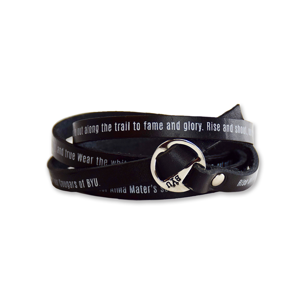 RM - Bracelet - BYU Leather Wrap Bracelet<BR>BYU(ブリガム・ヤング大学)公式マーク レザーラップ ブレスレット