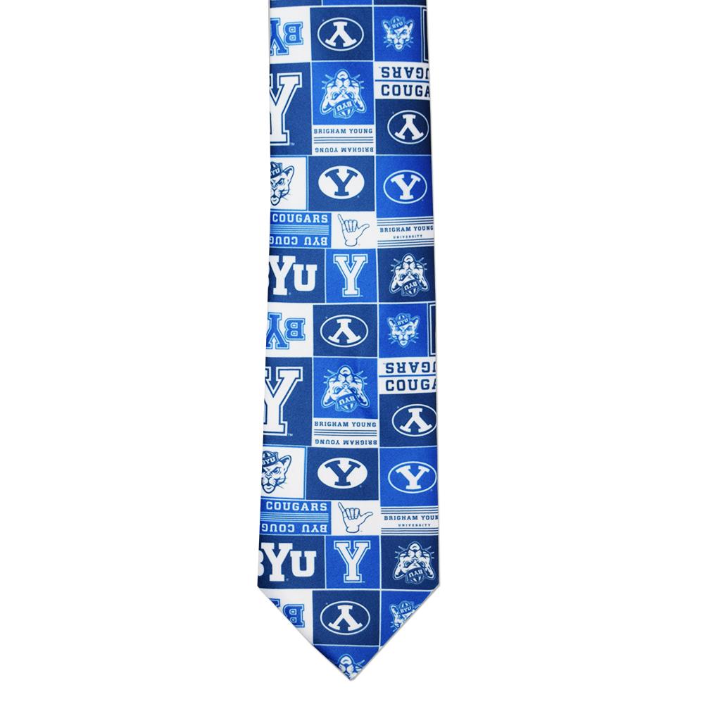 RM - Tie - BYU Logos Tie <BR>BYU(ブリガム・ヤング大学)公式 ロゴスタイ (成人サイズ)