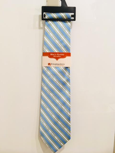 RM - Mens Tie - CTR Mens Stripe Blue&Yellow<BR>ネクタイ (成人) CTR ストライプ(水色&黄色)【在庫限りあと1点】