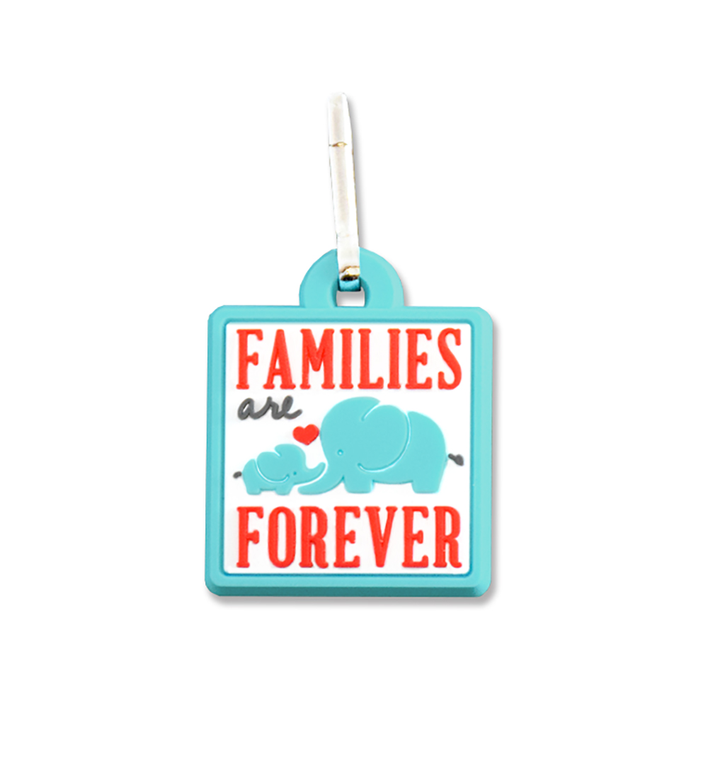 RM - Zipper Pull - Families are Forever Zipper Pull <BR>ファスナーチャーム - 家族は永遠です(ぞうの親子)