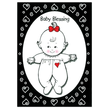 RM - Greeting Card  - Baby Girl Black & White<BR>カード - 女の子の幼児(白黒)(封筒なし)(女の子)