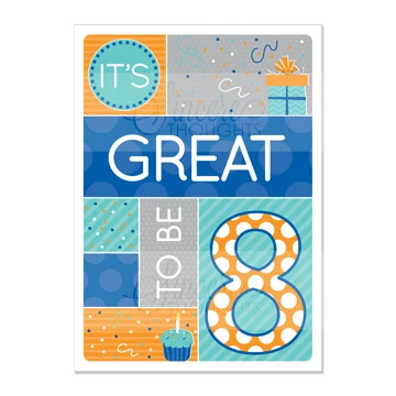 RM - Greeting Card  - Great To Be 8(Blue)<BR>カード - 8才って最高!ブルー(封筒なし)