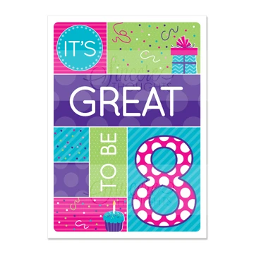 RM - Greeting Card  - Great To Be 8(Purple)<BR>カード - 8才って最高!パープル(封筒なし)