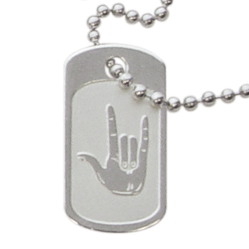 RM - Necklace - Dog Tag I Love You<BR>アイラブユー手話ドックタグネックレス